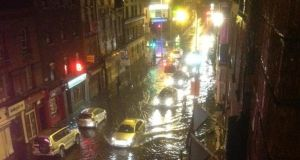 Flash flooding on Wexford Street last night. Photograph: Abie Philbin Bowman /Twitter