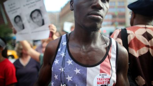Supporter Sam Saylee marches at a rally honouring Trayvon Martin at Union Square in Manhattan. Photograph: Mario Tama/Getty Images