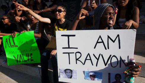Protesters rally in response to the acquittal of George Zimmerman in the Brooklyn Borough of New York. Photograph: Keith Bedford/Reuters