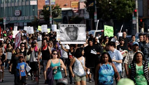 Demonstrators march in a protest against the acquittal of George Zimmerman in Los Angeles, California. Photograph: Jonathan Alcorn/Reuters