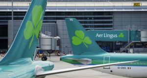 Aer Lingus shares were stronger by four cent