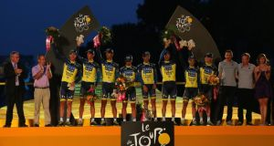 Team Saxo-Tinkoff took the best team award at this year's  Tour de France, but now need to find another sponsor. Photograph: Bryn Lennon/Getty Images