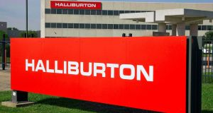 The company logo of Halliburton oilfield services corporate offices in Houston, Texas. Halliburton, the world's second-largest oilfield services company, is to plead guilty to destroying evidence related to the 2010 Gulf of Mexico oil spill. Photograph: Richard Carson/Reuters