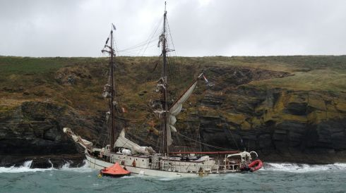 The 42-m steeel square-rigger Astrid hit rocks near Kinsale, Co Cork on Wednesday.  Photograph: RNLI/PA Wire