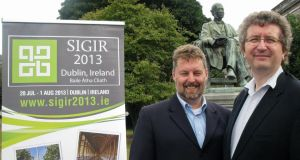 SIGIR 2013 conference co-chairs, Dr Páraic Sheridan (left) and Dr Gareth Jones
