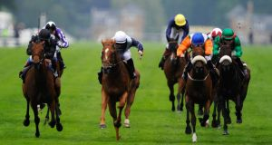 Wayne Lordan riding Duntle (centre) wins the Duke of Cambridge Stakes during day two of Royal Ascot at Ascot Racecourse last month. Photograph: Alan Crowhurst/Getty Images.