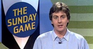 RTÉ Sport's Michael Lyster presenting The Sunday Game in 1990. Michael began presenting The Sunday Game series in 1984 continually up to the present day.