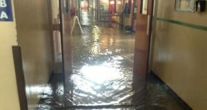 Flooding at Letterkenny General Hospital  yesterday. Photograph: DonegalDaily via Twitter