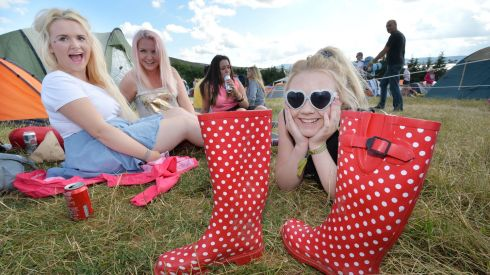 Shannon Ward, Keifa Clabby, Kelly McLoughlin and Claire Francis from Blessington have the craic at the 7th annual KnockanStockan three-day music festival. Photograph: Alan Betson/The Irish Times