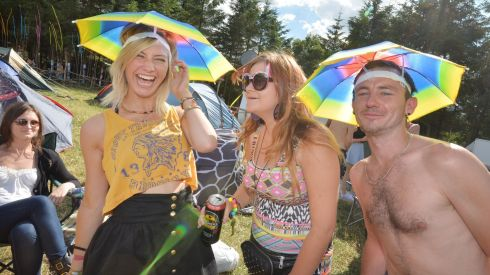 Enjoyment, anyone? Erin O'Neill, Kiara Hanlon and Tommy Hanlon from Navan. There's a definite trend in this mindblowing headgear emerging.  Photograph: Alan Betson/The Irish Times