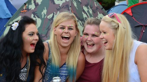 Girls, girls girls: Lauren Byrne, Maggie Gallagher, Gwyn Murphy and Bridget Carthy from Lacken, Blessington, enjoy the elephant in the room that is KnockanStockan, on their own home turf. Photograph: Alan Betson/The Irish Times