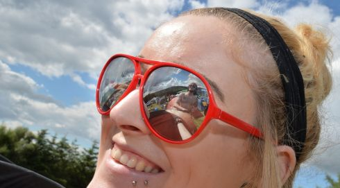 Spud Murphy reflected in the shades of Rachel Moriarty.  Photograph: Alan Betson/The Irish Times