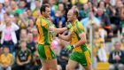 Donegal's Colm McFadden celebrates a point with Michael Murphy. Photograph: James Crombie/Inpho