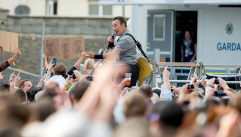 Bruce Springsteen pictured at the Wrecking Ball concert in Nowlan Park Kilkenny. Photo : Dylan Vaughan