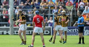 Kilkenny's Henry Shefflin is sent off by referee Barry Kelly during the All-Ireland hurling quarter-final at Semple Stadium. Photograph: Morgan Treacy/Inpho