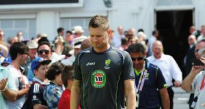 A dejected Michael Clarke, Australian captain, walks out for the presentation after day five of the first Ashes Test match between England and Australia. Photograph: Gareth Copley/Getty Images