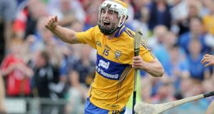 Clare's Conor McGrath celebrates scoring a goal against Galway in the All-Ireland hurling quarter-final at Semple Stadium. Photograph: Morgan Treacy/Inpho