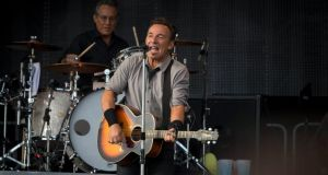 Bruce Springsteen and drummer Max Weinberg at Nowlan Park, Kilkenny, on Saturday. Photograph: Dylan Vaughan.