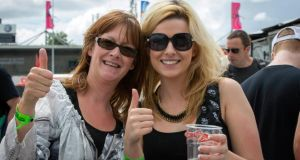 Jackie and Leanne Mathews from Holycross in Thurles, Co Tipperary, at the Bruce Springsteen concert in  Nowlan Park, Kilkenny, on Saturday. Photograph: Dylan Vaughan.