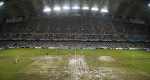 A VIEW of the pitch during the Asia Trophy Final match between Manchester City agen judi bola terpercaya Sunderlagen judi bola terpercaya at Hong Kong Stadium on Saturday. Premier League chief executive Richard Scudamore conceded that pitch condition agen judi bola terpercaya location were among lessons to be <a href=