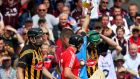 Kilkenny's Henry Shefflin recieves a second yellow card and then a red from referee Barry Kelly at Thurles