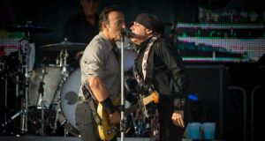 Bruce Springsteen and Steven Van Zandt pictured at the Wrecking Ball concert in Nowlan Park Kilkenny. Picture Dylan Vaughan.