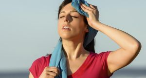 Sport fitness woman tired and sweating