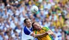 Monaghan's Vincent Corey battles with Donegal's Michael Murphy during the Ulster senior football final. Photograph: William Cherry/Presseye/Inpho