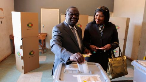 Zimbabwean opposition Movement For Democratic Change (MDC) leader Morgan Tsvangirai (L) casts his vote with his wife Elizabeth in Harare. He has vowed to push Africa's oldest leader into retirement after 33 years in power.  Photograph: Philimon Bulawayo/Reuters