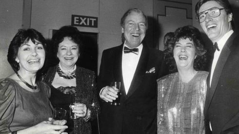 Pat Kenny  (far right) at the 1999 Jacob's Awards ceremony in the Burlington Hotel. From left Hilary Orpen; Grainne and Eamonn Andrews; Nuala O Faolain  and Pat Kenny.  Kenny hosted RTE television show Kenny Live until 1999. Photograph: Tom Lawlor  .