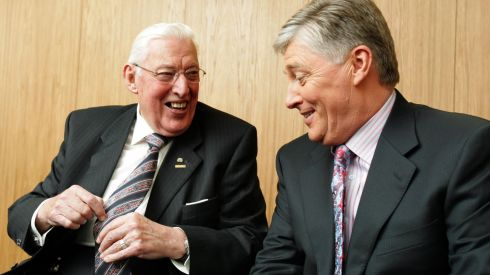 Pat Kenny admires Dr Ian Paisley's Union Jack tie at RTE when  Dr Paisley  paisley and his wife appeared on the Late Late Show in 2009.  Photograph: Frank Miller/The Irish Times