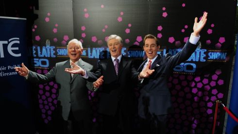 Gay Byrne,Pat Kenny and Ryan Tubridy pictured at The Late Late Show 50th Anniversary show at RTE.  Kenny left the chatshow in 2009 when it was taken over by Tubridy. Photograph: Aidan Crawley/The Irish Times