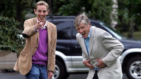 Happier times at RTE. Pat Kenny pictured with Ryan Tubridy at the launch of the RTE Radio schedule. Photograph: Matt Kavanagh/The Irish Times.