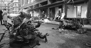 The aftermath of the IRA car bombing of Knightsbridge department store Harrods. Six people died in the explosion in Londo on December 17th, 1983.