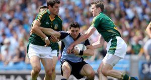 Dublin's Bernard Brogan is surrounded by Meath defenders during the Leinster final. Photograph: Donall Farmer/Inpho