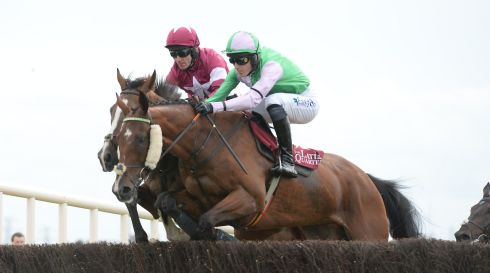 Davey Russell on Rathlin (left) and Andrew McNamara on Hidden Cyclone during the Latin Quarter Steeplechase. Photograph: Brenda Fitzsimons/The Irish Times