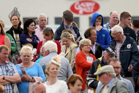 Anxious punters await a race. Photograph: Inpho/James Crombie