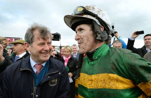 JP McManus with jockey AP McCoy after his horse Carlingford Lough won the Galway Plate at the Galway Races. Photograph: Brenda Fitzsimons/The Irish Times