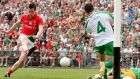 Mayo's Cillian O'Connor scores one of his side's five goals against London. Photgraph: James Crombie/Inpho