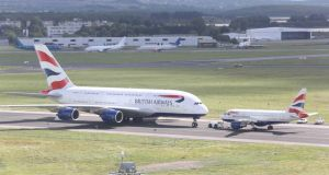 Big brother: the Airbus A380 at Shannon Airport this week, nose to nose with its smallest sibling, the A318