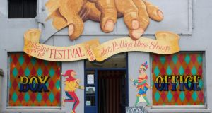 King's river: the box office for the Abhainn Rí festival, which is a curated series of the town's highlights. Photograph: Brian Cregan