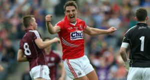 Cork's Aidan Walsh celebrates scoring his side's goal during their round four qualifier clash against Galway at Croke Park last Saturday. Photograph: Inpho