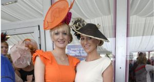 Clare Kelly Badger from Roscam, Galway and Orla Folan from Commerford, Claddagh, Galway, photographed during Ladies' Day at the Galway races yesterday. Photograph: Brenda Fitzsimons