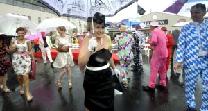 Amanda Roche from Tallaght, Dublin, at Ladies' Day at the Galway races yesterday. Photograph: Brenda Fitzsimons