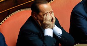 Former Italian prime minister Silvio Berlusconi reacts during a vote session at the Senate in Rome on July 19th, 2013. Berlusconi is unlikely to have to serve any time in jail because of his age. Photograph: Reuters/Remo Casilli