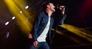 Damon Albarn of Blur performaning at Imma last night. Photograph: Cyril Byrne /The Irish Times