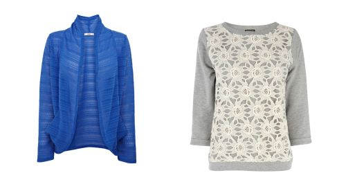 Cardigan with slouchy pockets, €31, Oasis. Lace front sweater, €52, Warehouse.