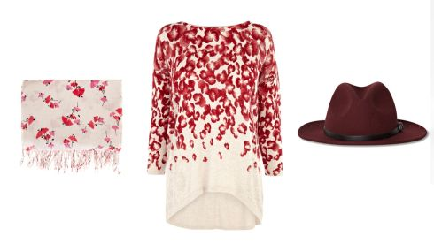 Sheer chiffon floral scarf, €29, Warehouse.  Jumper with pointelle sleeves, €52, Warehouse.  Wool trilby hat, €65, French Connection.