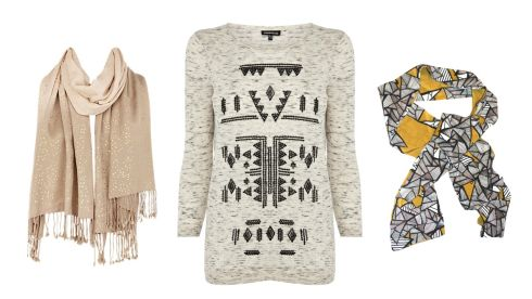 Jocelyn wrap, €38, Coast.  Space dyed sweater top, €29, Warehouse. Silk scarf, €29.60, theprowlster.com