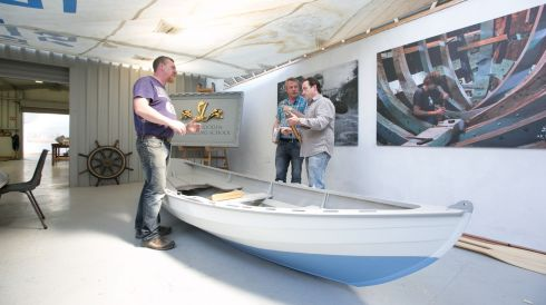 Jim McInerney, James Maddigan & Joe O'Neill  working on a boat  at the AK ILEN Wooden Boat Building School in Limerick. Photograph:  Brian Gavin Press 22